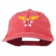 12th Air Force Badge Embroidered Washed Cap - Red
