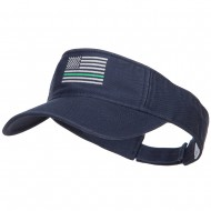 Thin Green Line USA Flag Embroidered Washed Visor - Navy