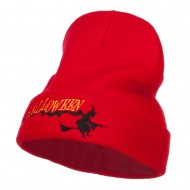 Halloween Witch Embroidered Long Beanie - Red