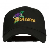 USA State Tennessee Flowers Iris Embroidered Organic Cotton Cap - Black