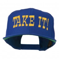 Take It Embroidered Flat Bill Cap - Royal