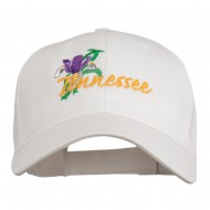 USA State Tennessee Flowers Iris Embroidered Organic Cotton Cap - White