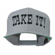 Take It Embroidered Flat Bill Cap - Silver