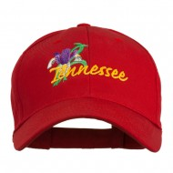 USA State Tennessee Flowers Iris Embroidered Organic Cotton Cap - Red