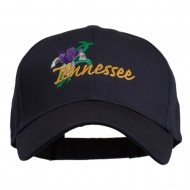 USA State Tennessee Flowers Iris Embroidered Organic Cotton Cap - Navy