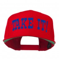 Take It Embroidered Flat Bill Cap - Red