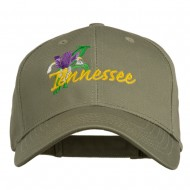 USA State Tennessee Flowers Iris Embroidered Organic Cotton Cap - Olive