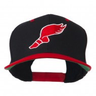 Track Logo Embroidered Flat Bill Cap - Black Red