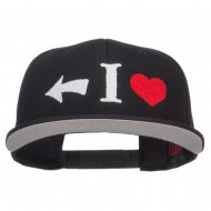 I Heart Left Embroidered Cotton Snapback - Black