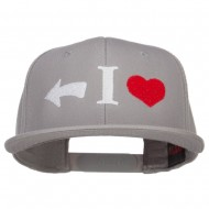 I Heart Left Embroidered Cotton Snapback - Grey