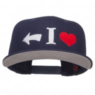 I Heart Left Embroidered Cotton Snapback - Navy