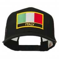 Italy Europe Flag Patched Mesh Back Cap - Black