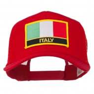 Italy Europe Flag Patched Mesh Back Cap - Red