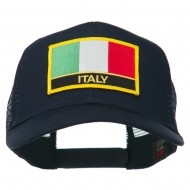 Italy Europe Flag Patched Mesh Back Cap - Navy