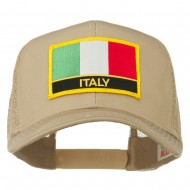 Italy Europe Flag Patched Mesh Back Cap - Khaki