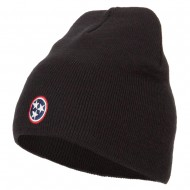 Tennessee Flag Logo Embroidered Knitted Short Beanie - Black