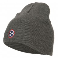 Tennessee Flag Logo Embroidered Knitted Short Beanie - Dk Grey