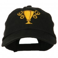 Trophy Cup Embroidered Low Profile Washed Cap - Black