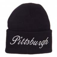City of Pittsburgh Embroidered Long Beanie - Black