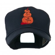 Three Pumpkins with Funny Smile Embroidered Cap - Navy