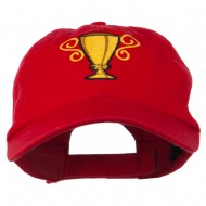 Trophy Cup Embroidered Low Profile Washed Cap - Red