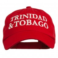 Trinidad and Tobago Embroidered Pet Spun Washed Cap - Red