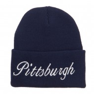City of Pittsburgh Embroidered Long Beanie - Navy