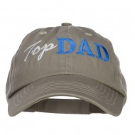 Top Dad Letters Embroidered Low Profile Cap - Olive