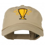 Trophy Cup Embroidered Low Profile Washed Cap - Khaki