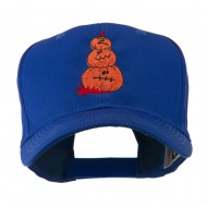 Three Pumpkins with Funny Smile Embroidered Cap - Royal
