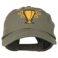 Trophy Cup Embroidered Low Profile Washed Cap - Olive