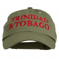 Trinidad and Tobago Embroidered Pet Spun Washed Cap - Olive