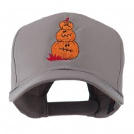 Three Pumpkins with Funny Smile Embroidered Cap - Grey