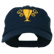 Trophy Cup Embroidered Low Profile Washed Cap - Navy