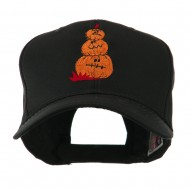 Three Pumpkins with Funny Smile Embroidered Cap - Black