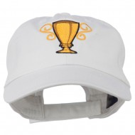 Trophy Cup Embroidered Low Profile Washed Cap - White