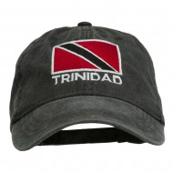 Trinidad Flag Embroidered Washed Cotton Cap - Black