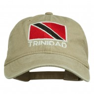 Trinidad Flag Embroidered Washed Cotton Cap - Khaki