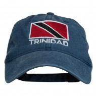 Trinidad Flag Embroidered Washed Cotton Cap - Navy