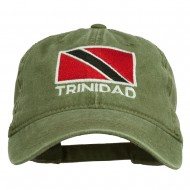 Trinidad Flag Embroidered Washed Cotton Cap - Olive Green