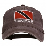 Trinidad Flag Embroidered Washed Cotton Cap - Brown