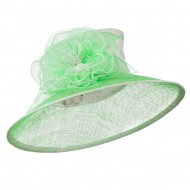 Two Tone Sheer Flower Accent Sinamay Hat - White Lime