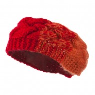 Two Tone Acrylic Knit Head Band - Red Orange