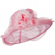 Two Tone Ruffle Accent Organza Hat - Pink Ivory