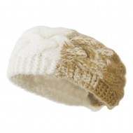 Two Tone Acrylic Knit Head Band - White Beige