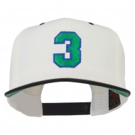 Athletic Number 3 Embroidered Classic Two Tone Cap - Natural Black