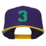 Athletic Number 3 Embroidered Classic Two Tone Cap - Purple Gold