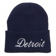 City of Detroit Embroidered Long Beanie - Navy