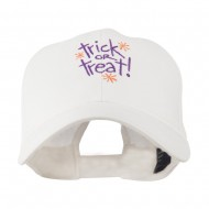 Trick or Treat with Stars Embroidered Cap - White