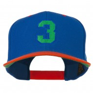 Athletic Number 3 Embroidered Classic Two Tone Cap - Royal Orange